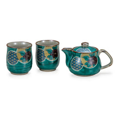 Green Round Crest Kutani Ware Tea Set