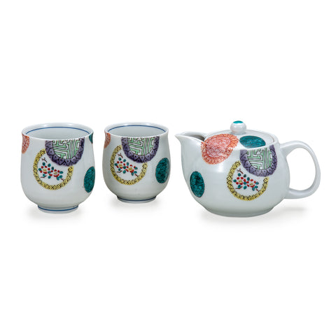 Color Round Crest Kutani Ware Tea Set