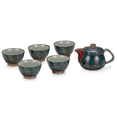 Blue Dots Kutani Ware Tea Set with Back Handle Pot