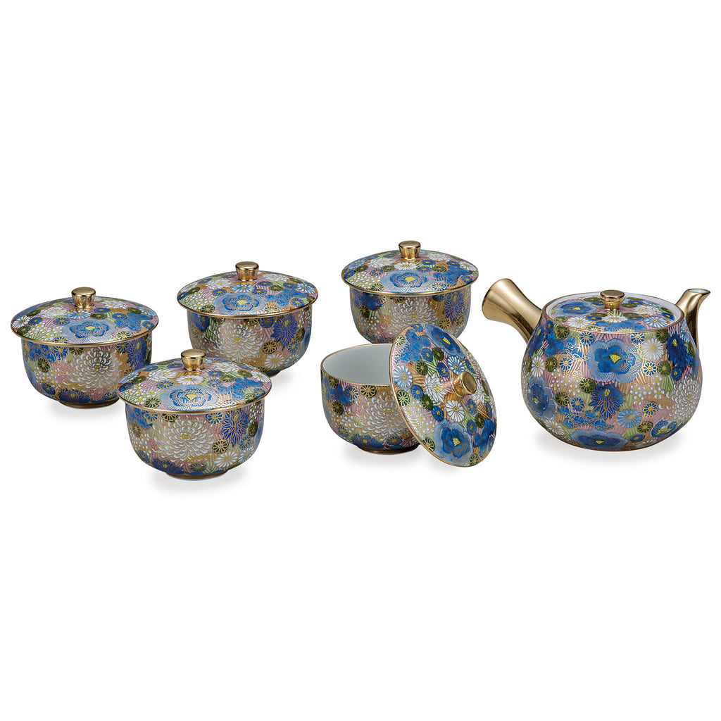 Blue Paved Flower Kutani Ware 5 cups with lid Tea Set