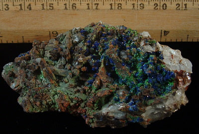 Azurite with Malachite on Quartz - Tinghir Province, Morocco (MS-2441b)