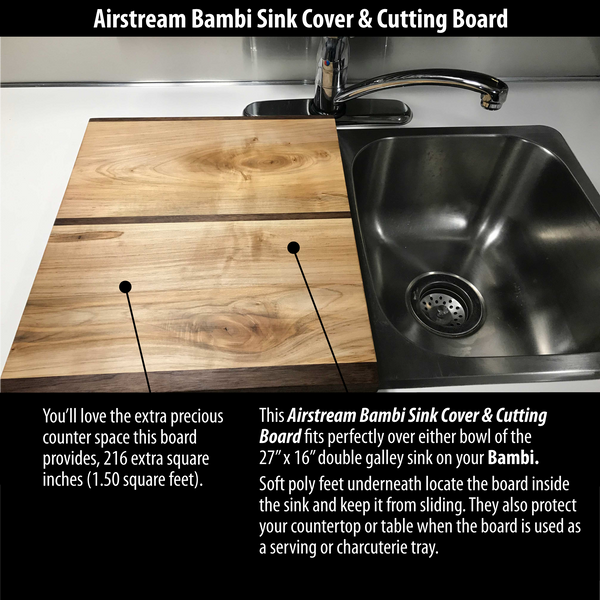 "Airstream Bambi Cutting Board & Sink Cover, Wood, For 27"" x 16"" Double Sinks - Shop Matson"