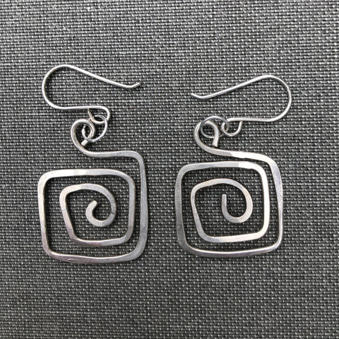 Sterling Silver Square Spiral Earrings - Shop Matson