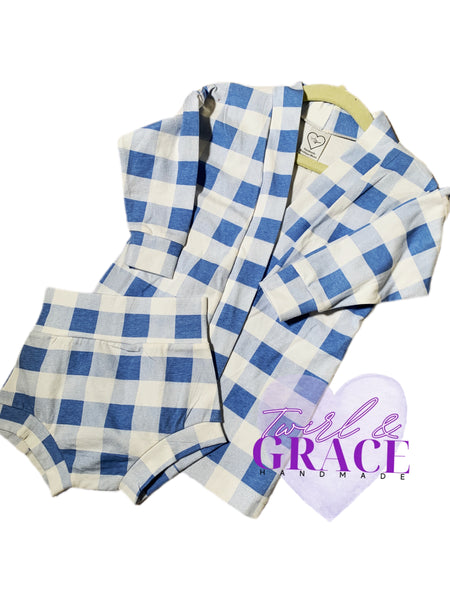 Size 18/24M Baby Blue Plaid Cardigan & Bummie Set