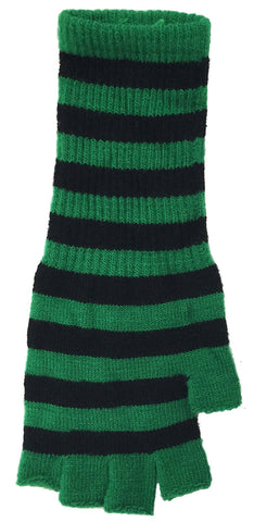 Fingerless Striped Knit Gloves