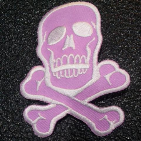 Lilac/White Skull and Crossbones patch