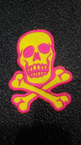 Yellow/Pink skull and Crossbones patch