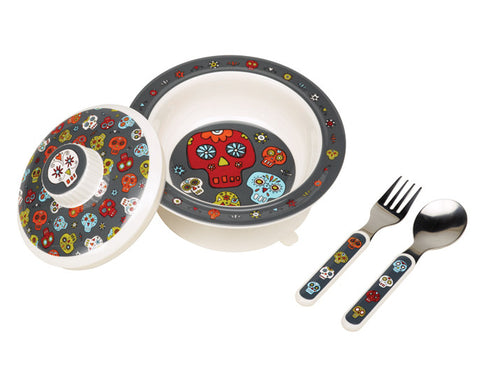 Sugar Skulls Covered Suction Bowl Feeding Set