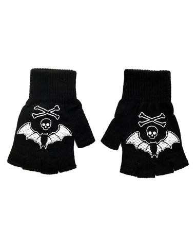 Bat Lace  fingerless knit gloves