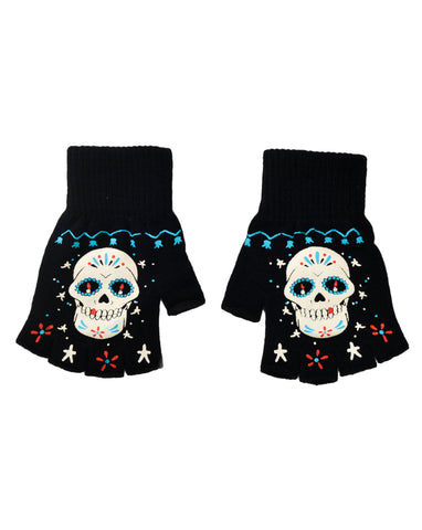 Sugar Skull fingerless knit gloves