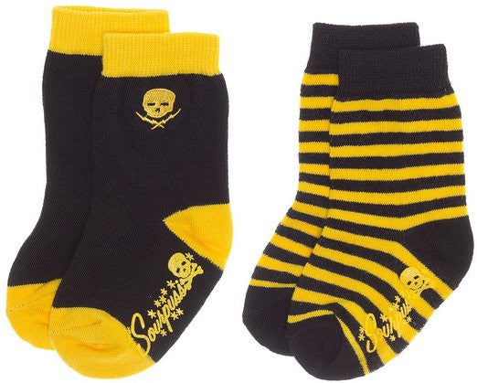 Infant/Toddler Yellow and Black Striped /Pirate sock set