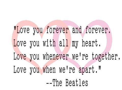 The Beatles Lyric Valentine's Card
