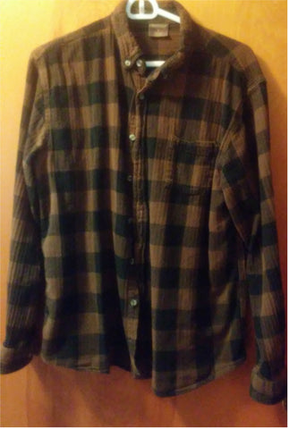 Brown and Black Plaid Flannel Shirt. Gently Used. Great Northwest Brand