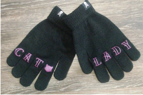 Black Acrylic Knit Gloves--Cat Lady