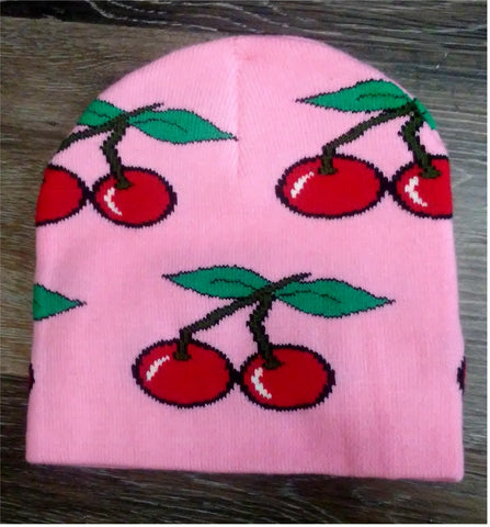 Knit Acrylic Hat Pink with Red Cherries