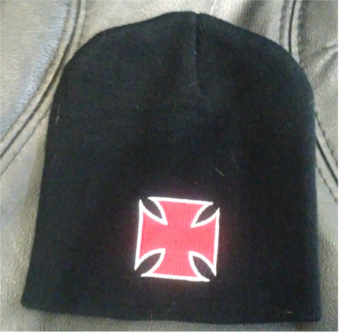Knit Acrylic Hat Beanie Black with Iron Cross