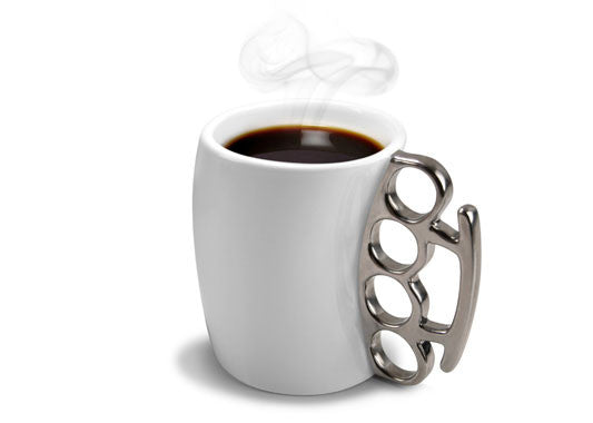 Fisticup brass knuckle coffee mug