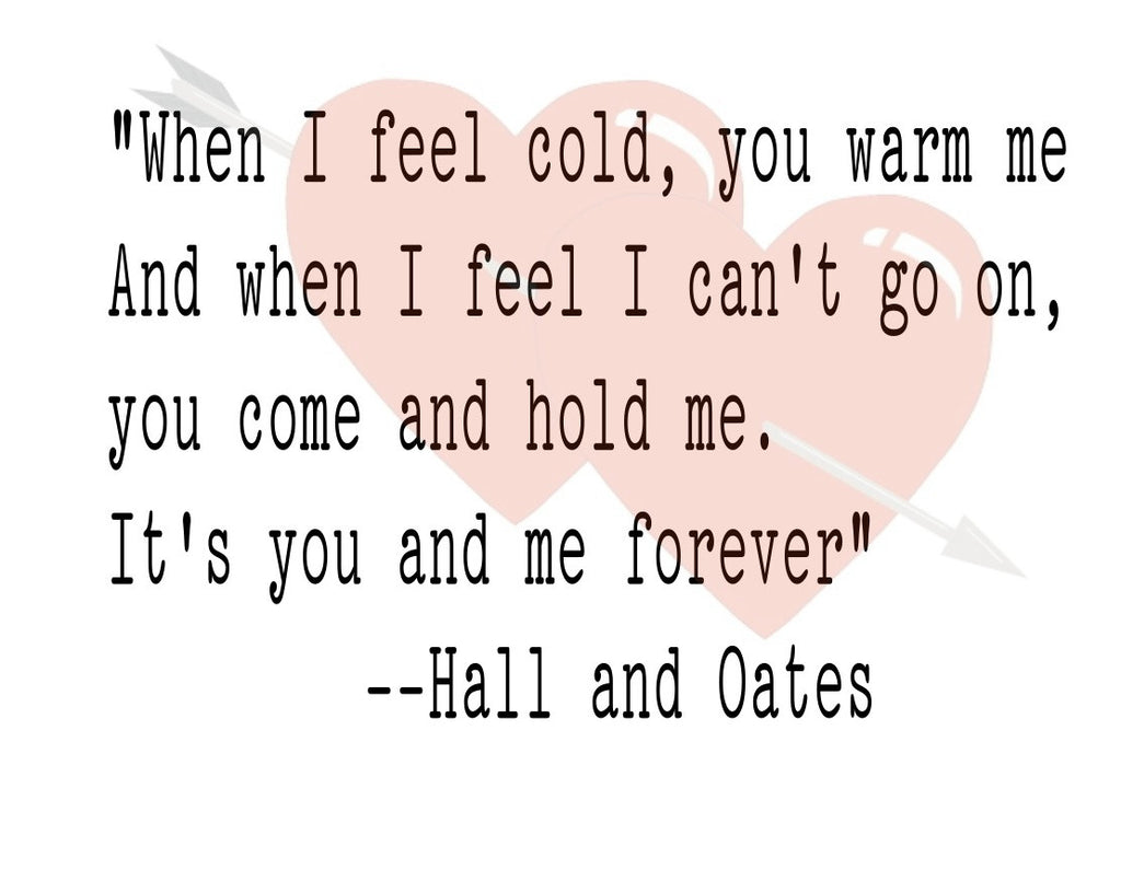 Hall & Oates Lyric Valentine's Card