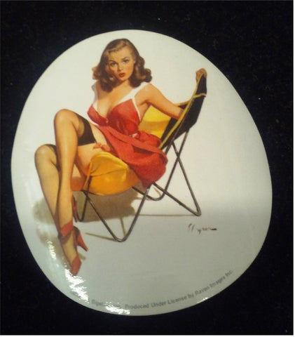 Elvgren Pinup in a Sling Chair Sticker