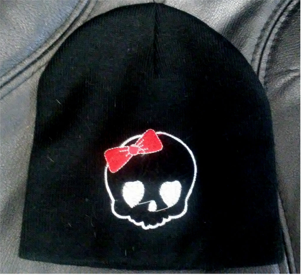 Knit Acrylic Hat Beanie Black with Skull and Bow
