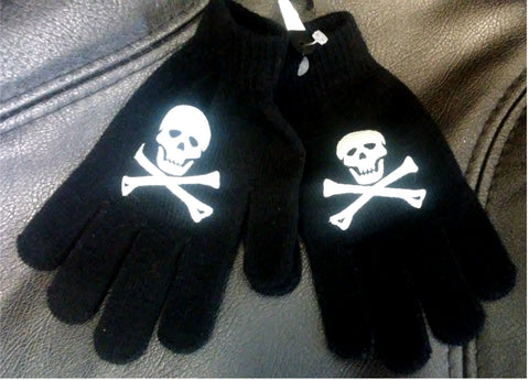 Knit Acrylic Gloves--Skull and Crossbones