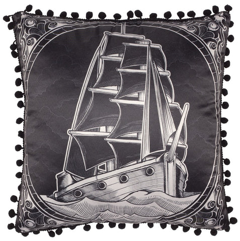 Clipper Ship Satin Fringe Pillow