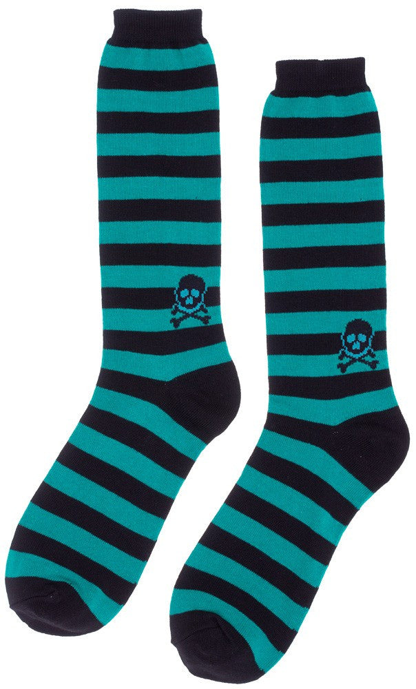 Men's Socks Skull/Stripe Teal and Black