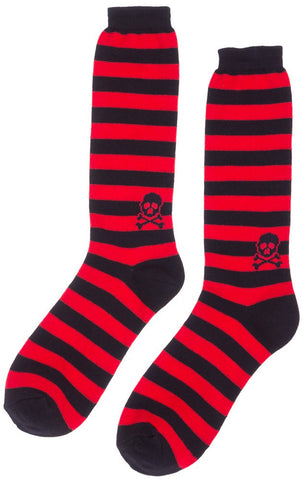 Mens Red/Black Striped Skull Socks