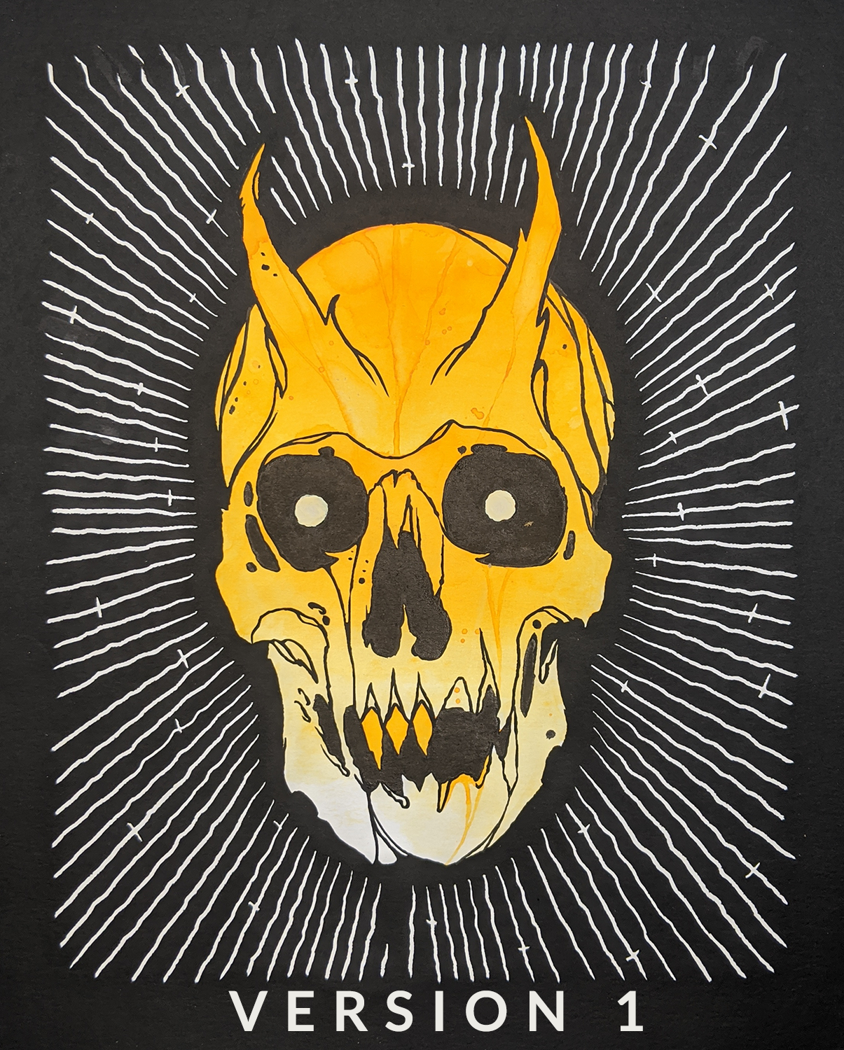 One-off Demon Skull Painting