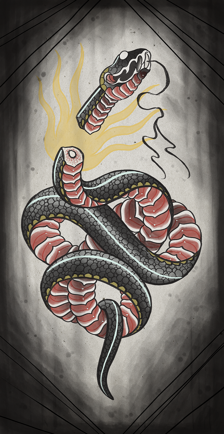 Deth Snake Black and Red Print