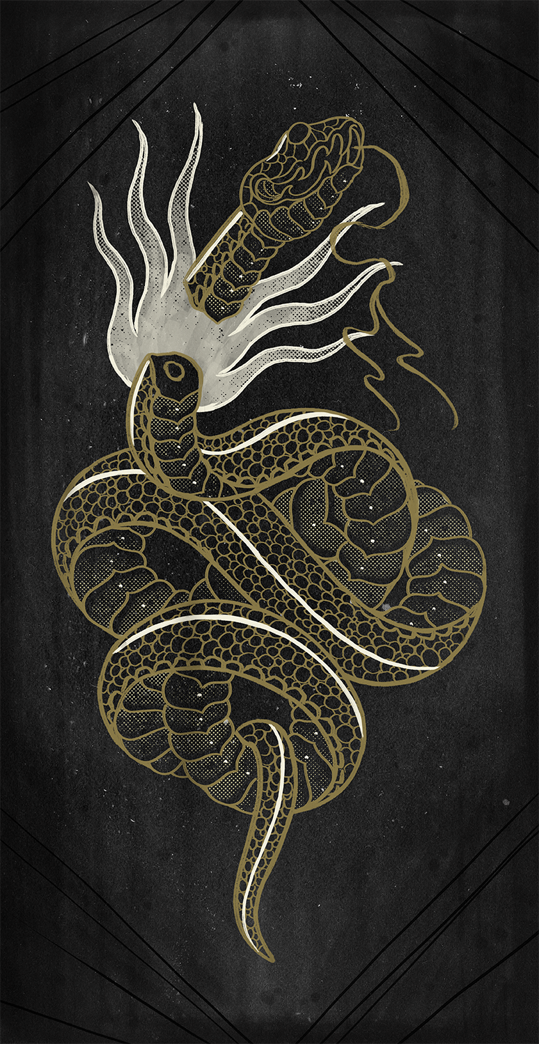 Deth Snake Inverted Gold Print