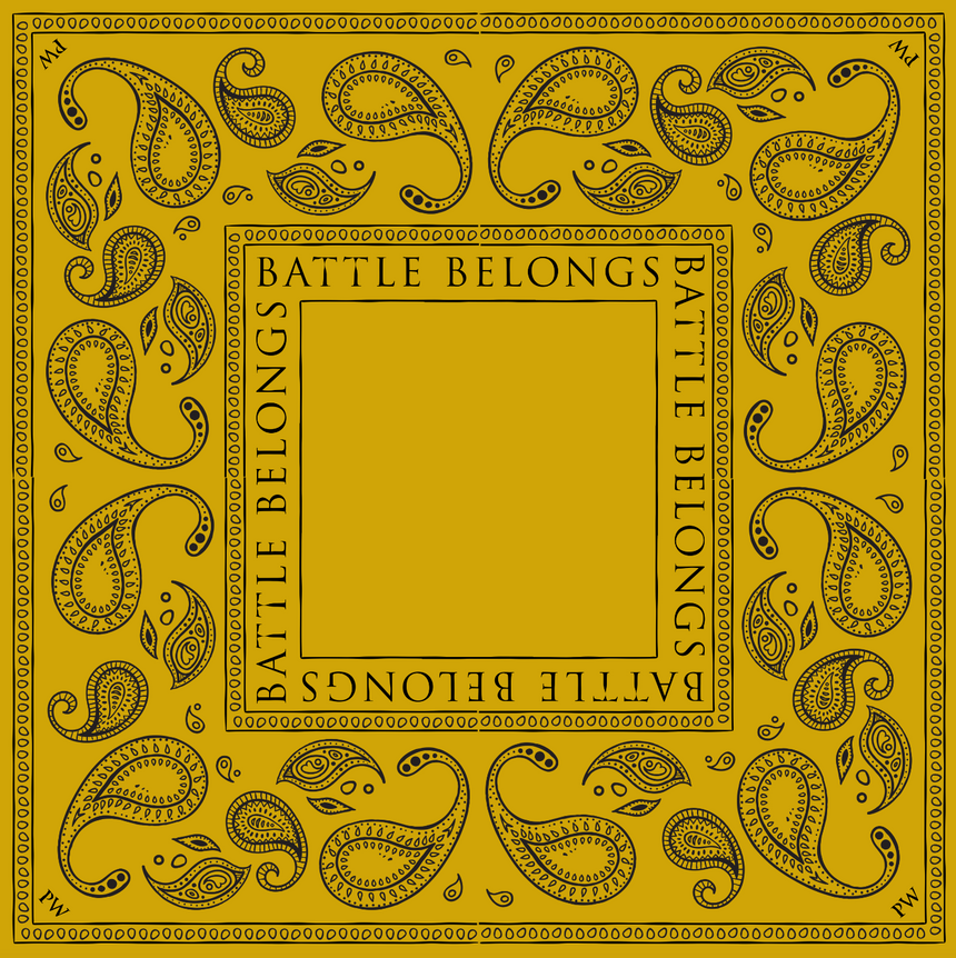 Battle Belongs Bandana (White, Green, Gold)