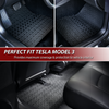 Advertisement: Perfect Fit Tesla Model 3, along with 3 pictures of car interiors with floor mats