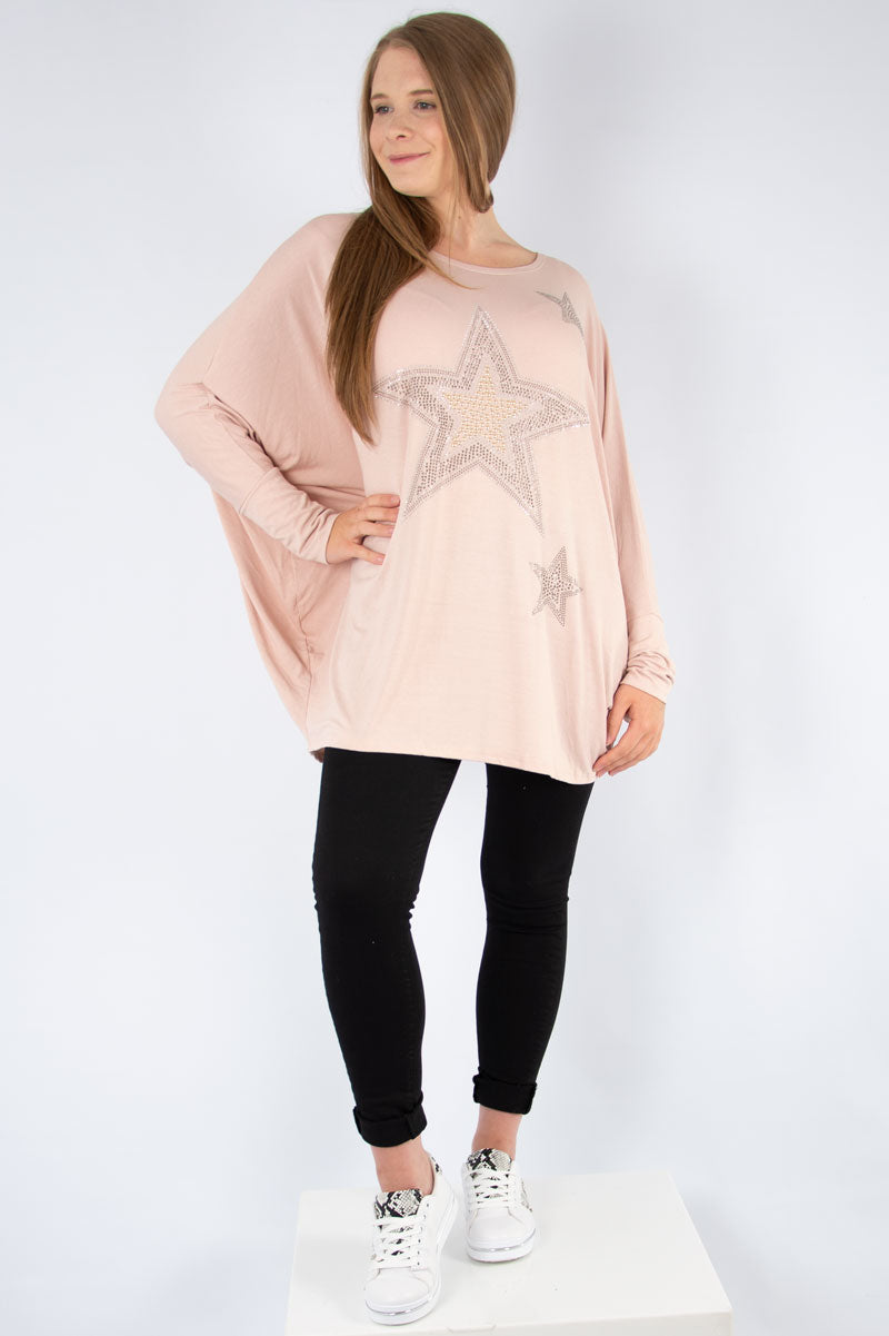Pink Studded Star Top | Made in Italy