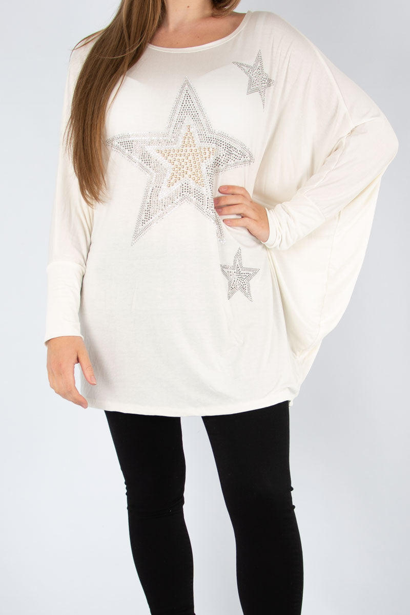 Cream Studded Star Top | Made in Italy