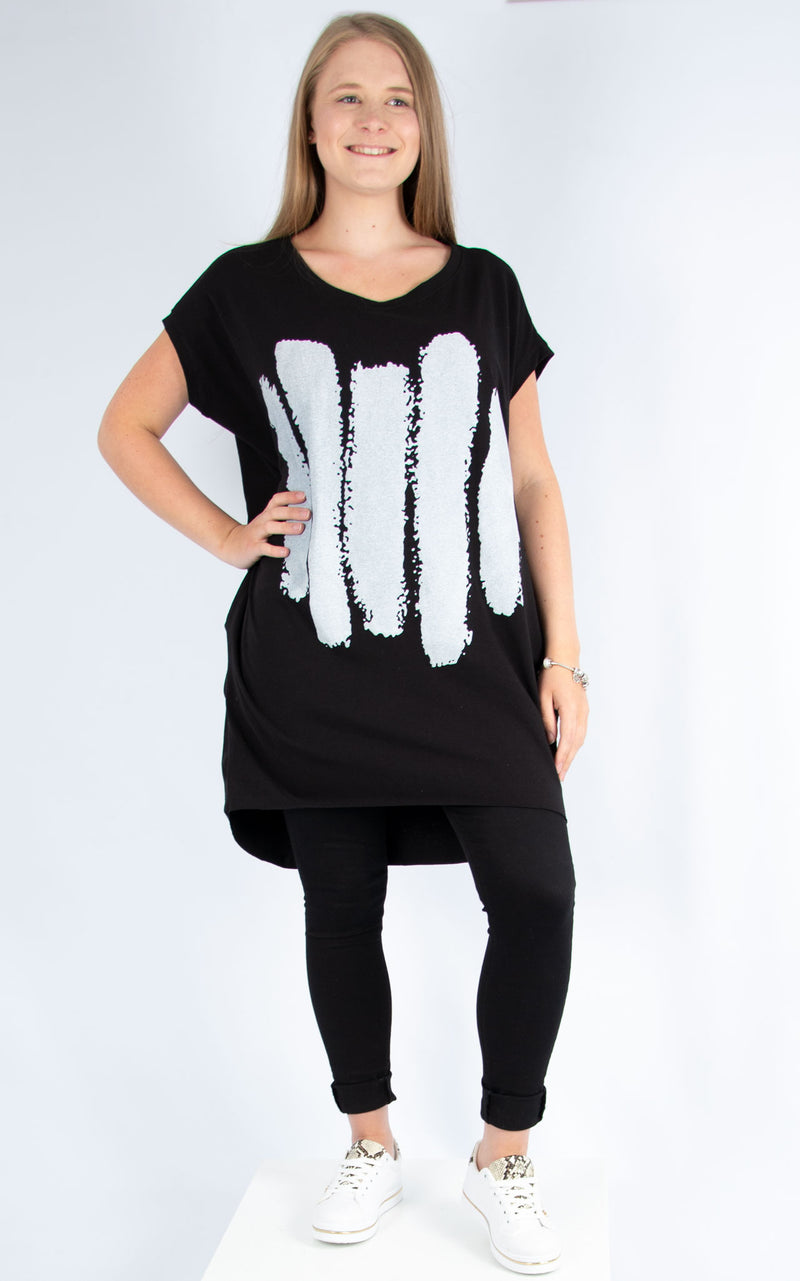 Rachel T | Five Line Long T Shirt Black