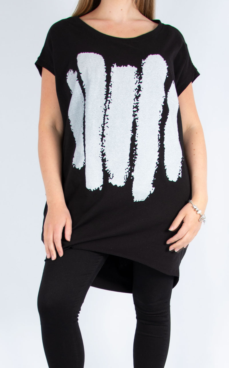 Five Line Long T Shirt Black