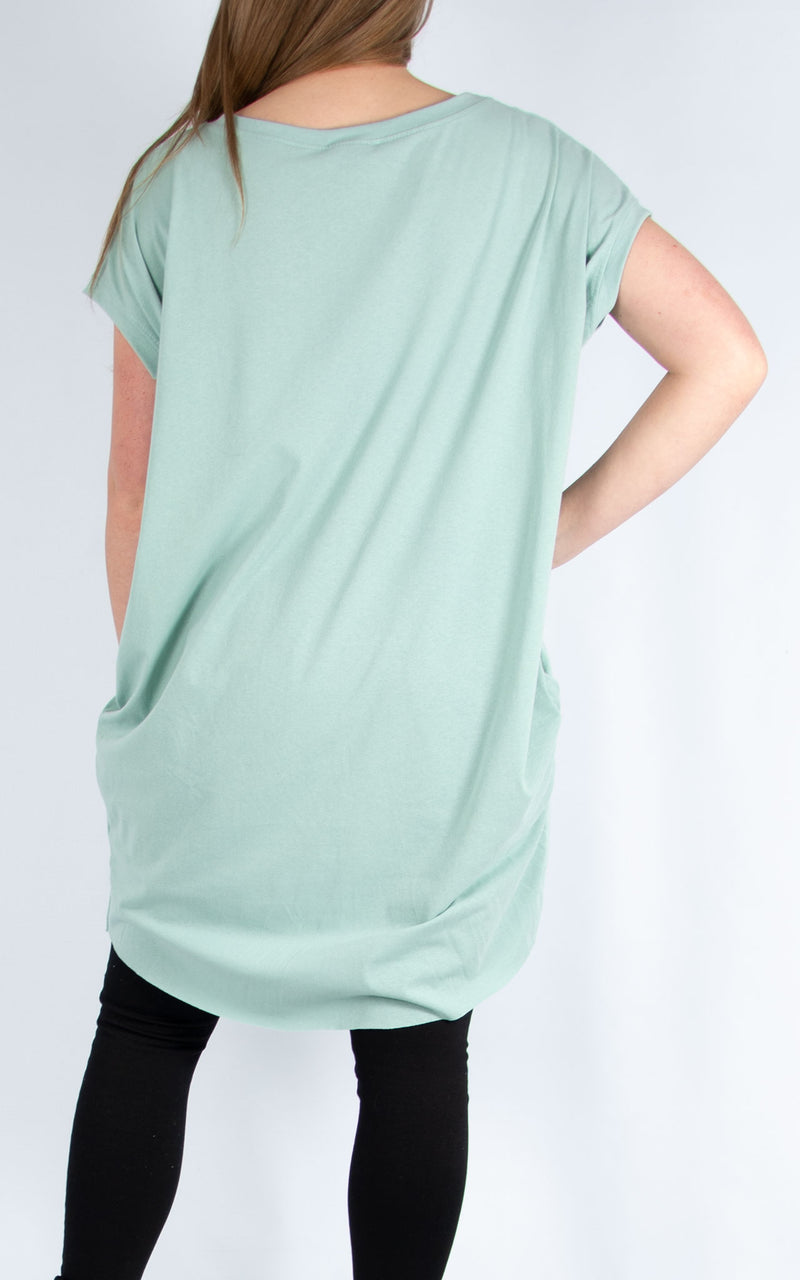 Green Five Line Long T Shirt | Made in Italy
