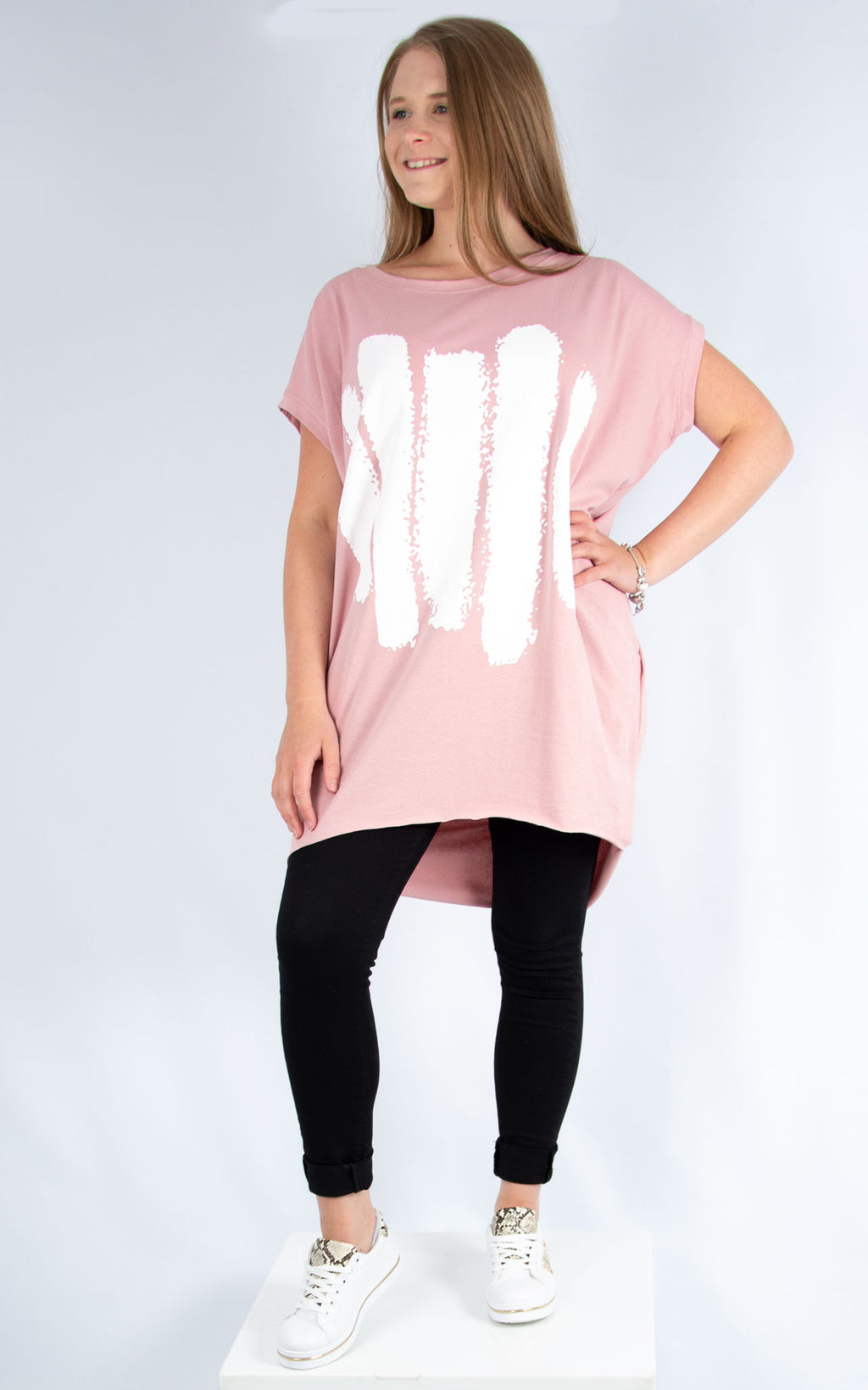 Pink Five Line Long T Shirt | Made in Italy