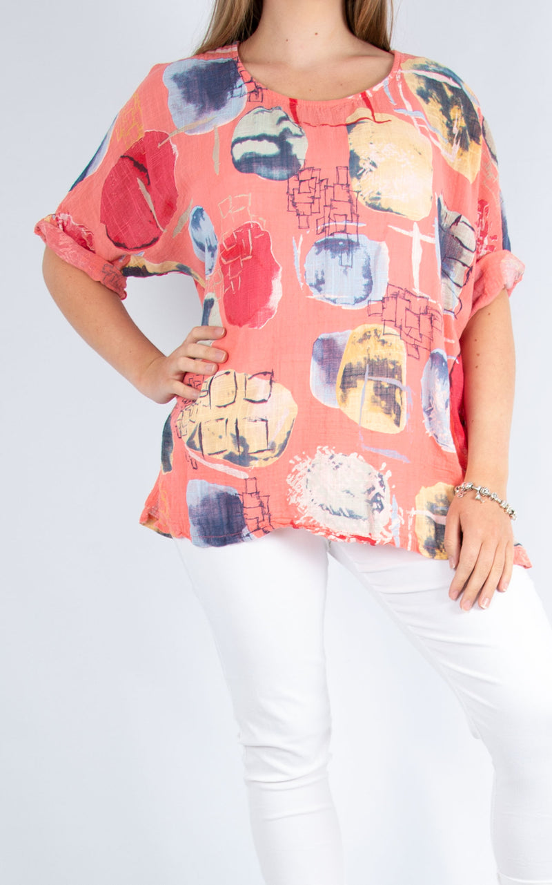 Coral Abstract Cotton Top | Made in Italy
