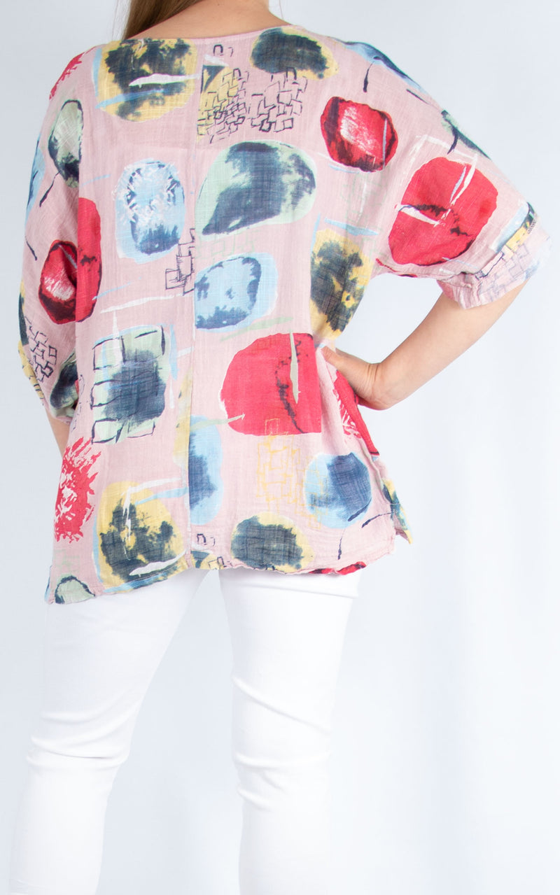 Pink Abstract Cotton Top | Made in Italy