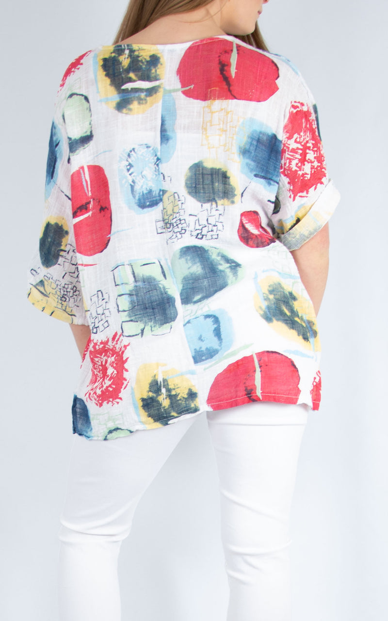 White Abstract Cotton Top | Made in Italy