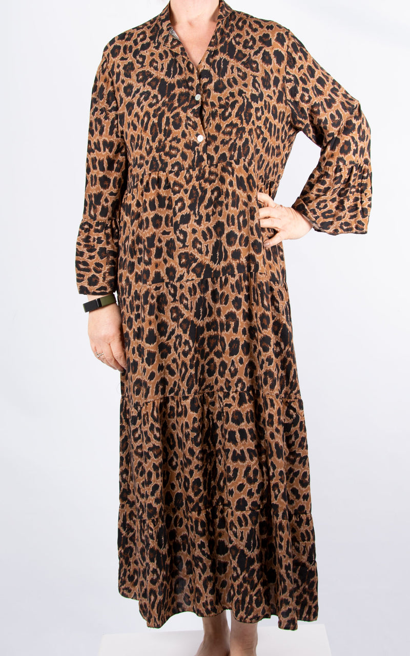 Alex Maxi Dress | Brown Leopard
