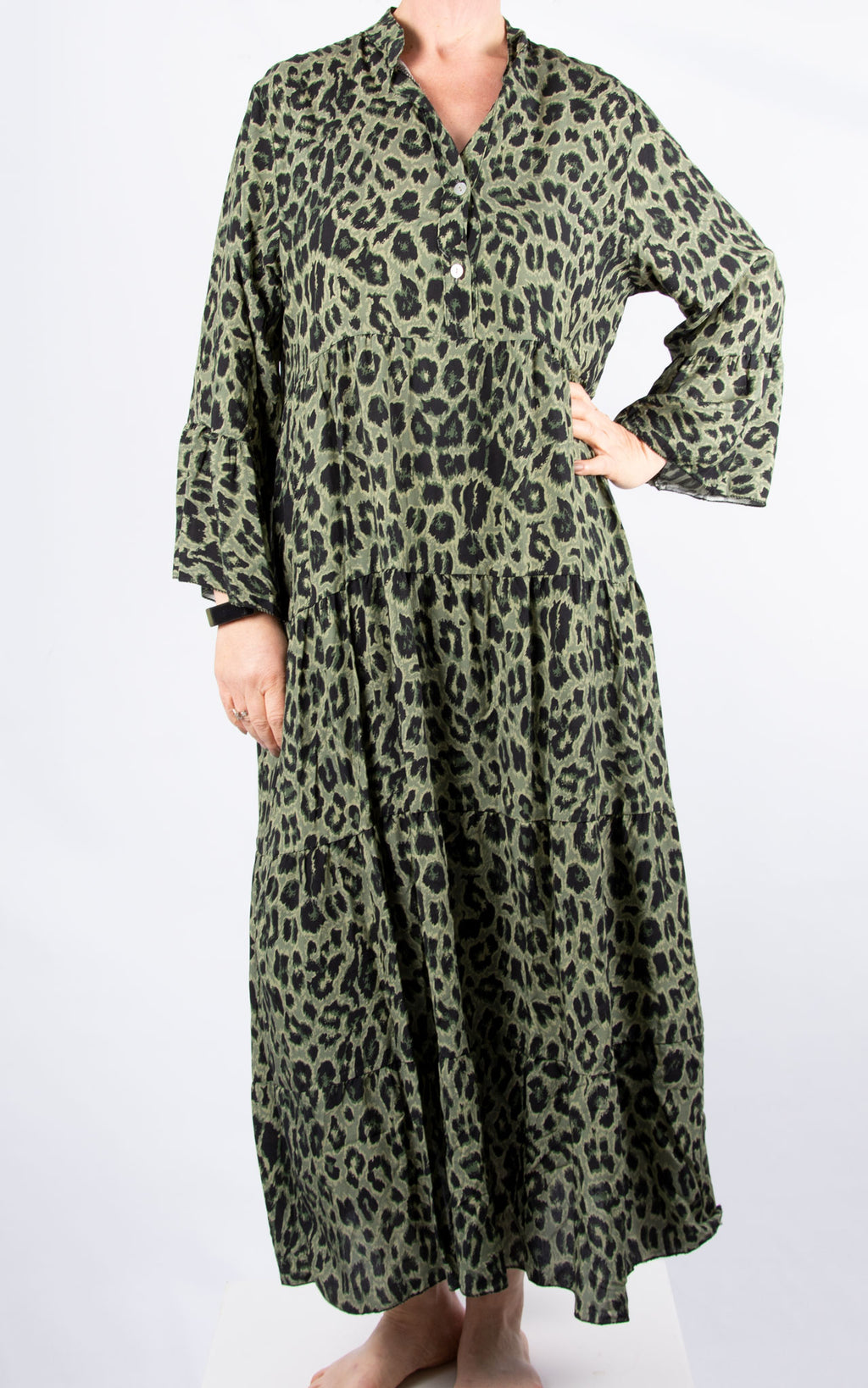 Alex Maxi Dress | Khaki Leopard