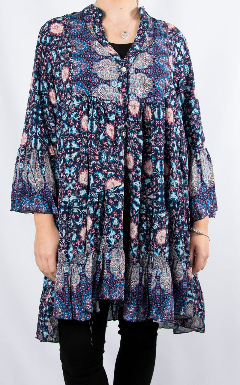 Alex Smock Dress | Blue Paisley