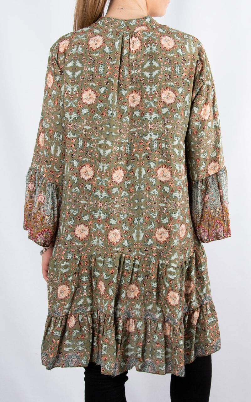 Alex Smock Dress | Khaki Paisley