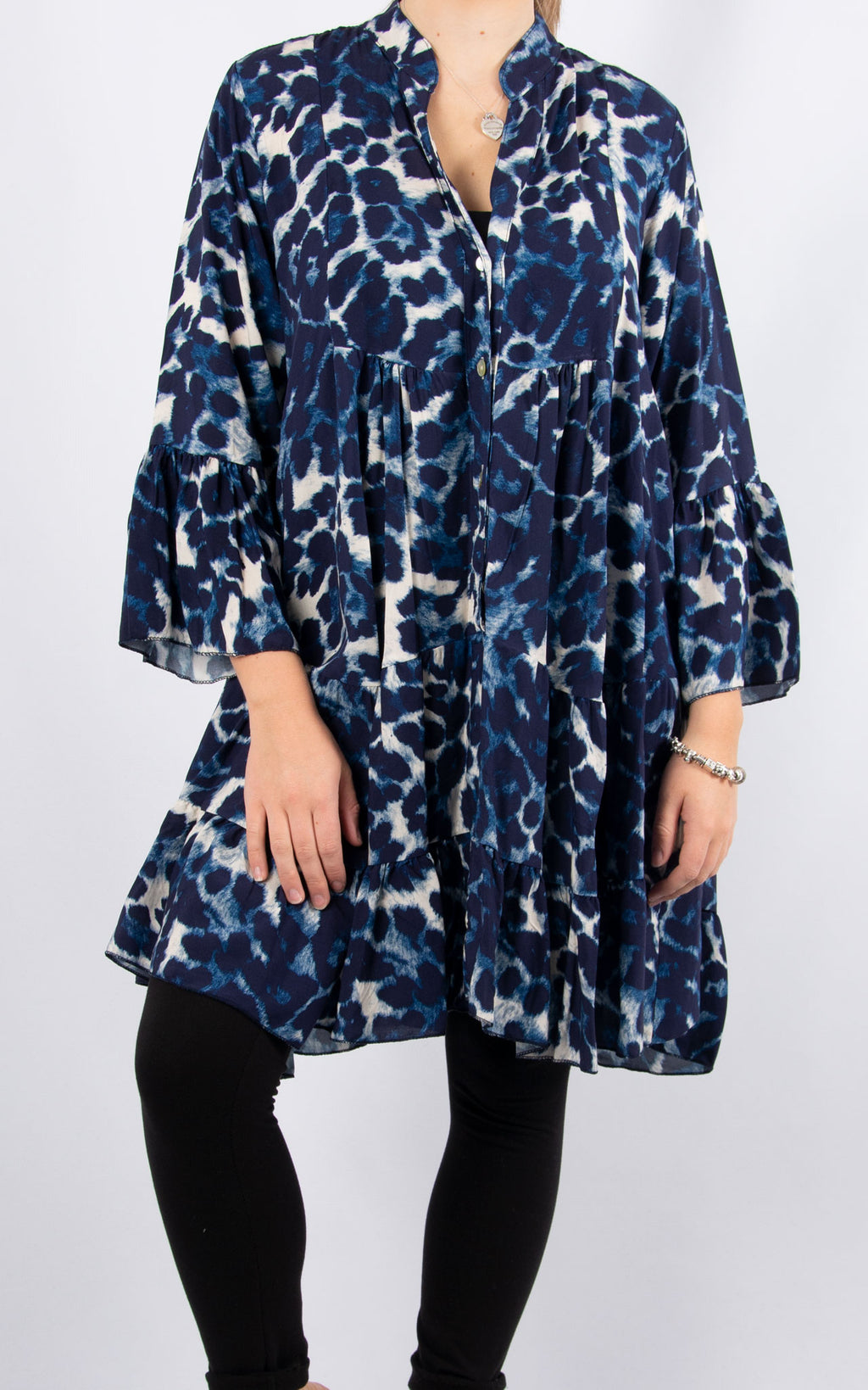 Alex Smock Dress | Navy Leopard