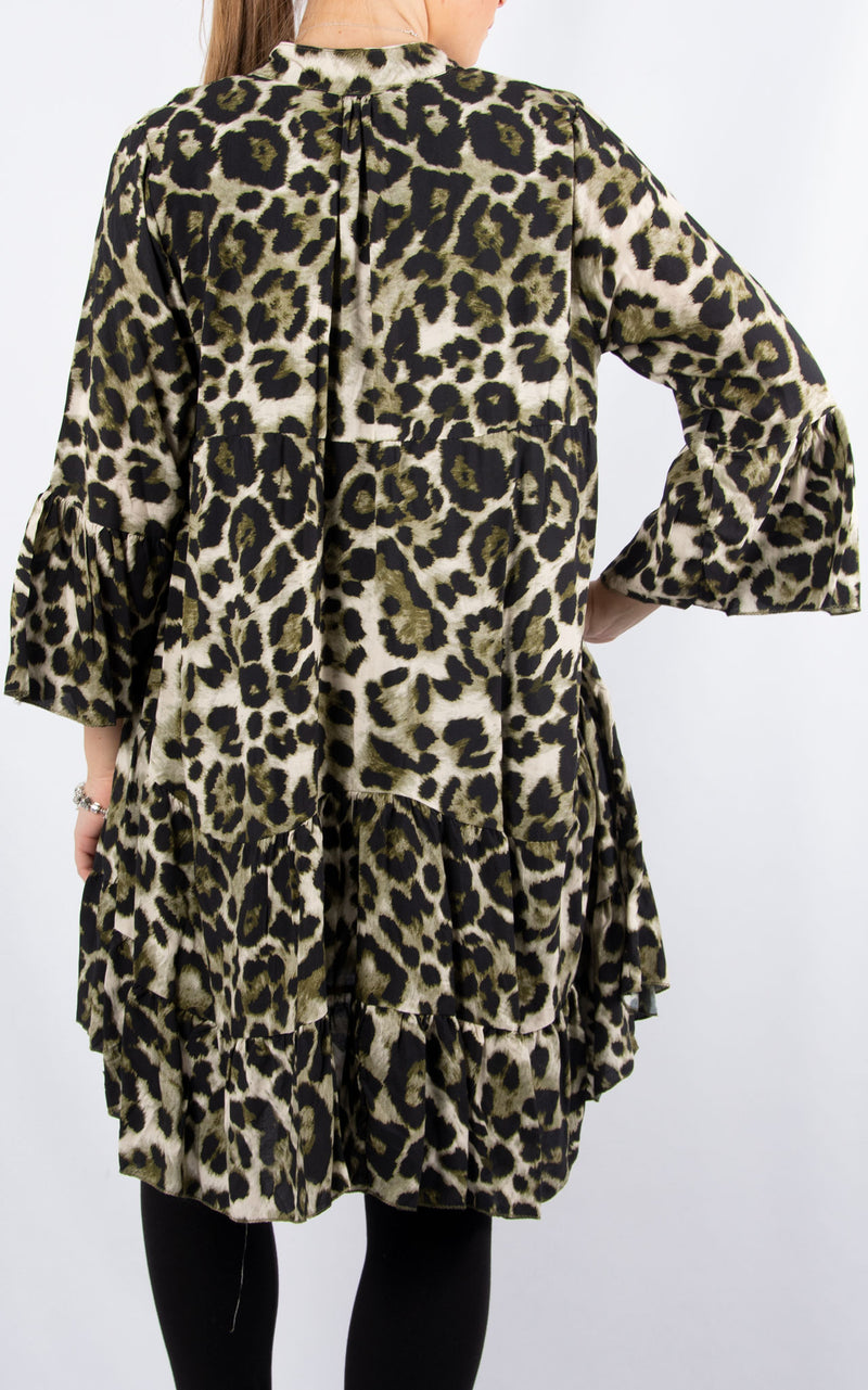Alex Smock Dress | Khaki Leopard