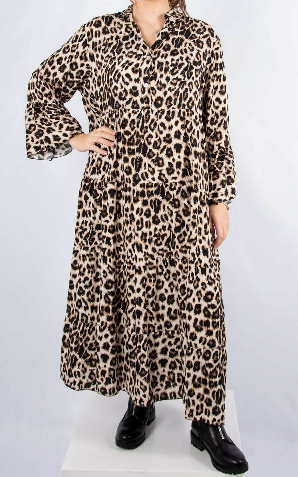 Alex Maxi Dress | Beige Leopard