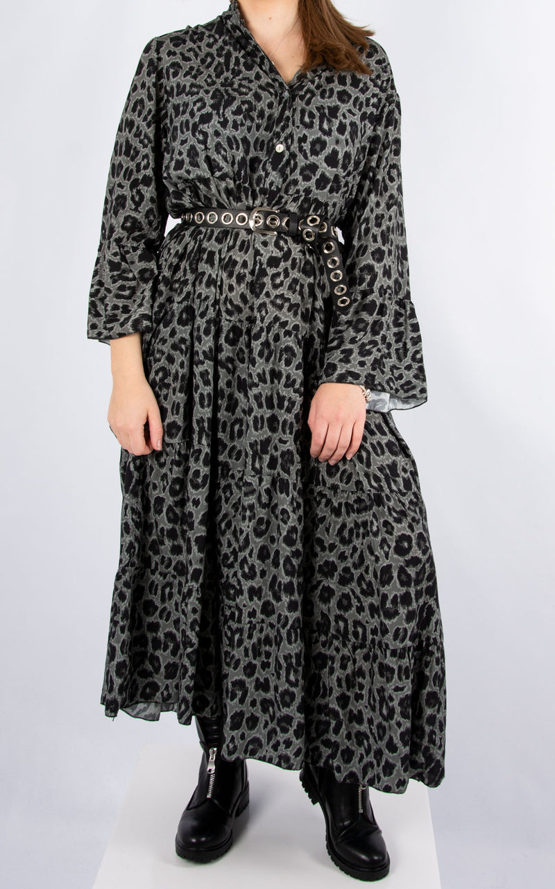 Alex Maxi Dress | Charcoal Leopard